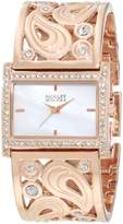 Badgley Mischka Women's BA/1226WMRG Swarovski Crystal-Accented Rose Gold-Tone Bangle Watch