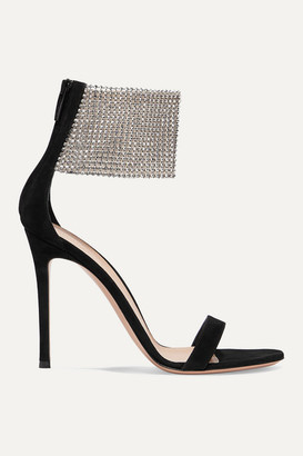 Gianvito Rossi 105 Suede And Crystal-embellished Tulle Sandals - Black