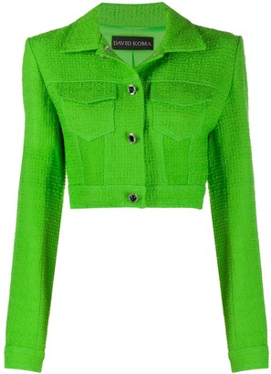David Koma Boucle-Knit Cropped Jacket