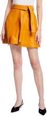 Oscar de la Renta Leather Tie-Waist Skirt