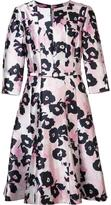 Oscar de la Renta flower print flared dress - women - Silk/Cotton - 8