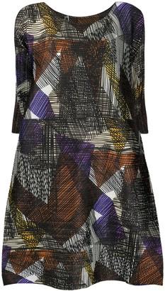 Pleats Please Issey Miyake Abstract Print Midi Tunic Dress