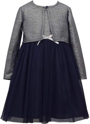 Bonnie Jean Girls 7-16 Long Sleeve Metallic Dress with Knit Cardigan