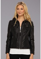 MICHAEL Michael Kors Hooded Leather Jacket M62784A (Black) - Apparel