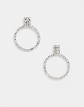 True Decadence circle drop earrings in silver crystal