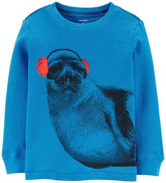 Carter's Boys Crew Neck Long Sleeve Graphic T-Shirt-Toddler