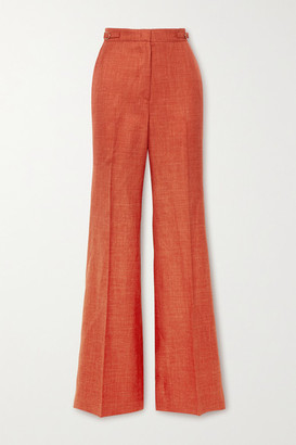 Gabriela Hearst Vesta Wool, Silk And Linen-blend Straight-leg Pants - Orange