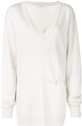 Tibi V-neck slit detail tunic pullover