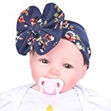 AutumnFall Girls Sweet Baby Newborn Hospital Baby Hat - Soft Beanie with Bow (Navy)