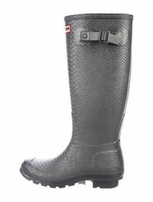 Hunter Rubber Printed Rain Boots Silver