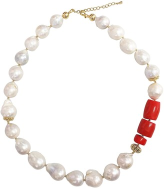 Farra Nugget Baroque Freshwater Pearls With Red Coral Choker