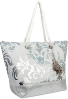 Magid Silver Scalloped Tassel-Detail Tote
