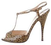Christian Louboutin T-Strap Leopard Print Sandals