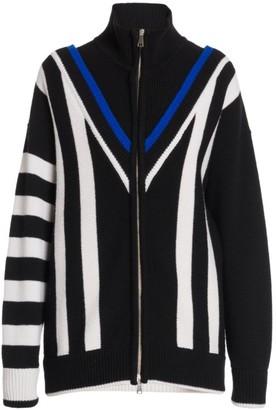 Plan C Chevron Stripe Pattern Wool Turtleneck Zip Cardigan