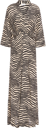 By Malene Birger Pleated Zebra-print Crepe De Chine Maxi Dress