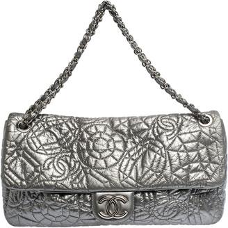 Chanel Silver Patent Vinyl Graphic Edge Single Flap Bag