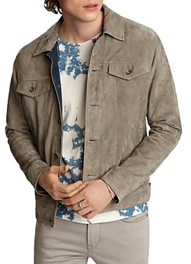 John Varvatos Steven Suede Regular Fit Trucker Jacket