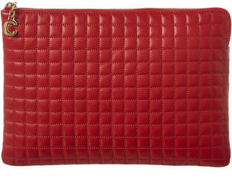 Celine C Charm Quilted Leather Pouch