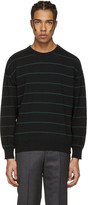 Ami Alexandre Mattiussi Black and Green Striped Sweater