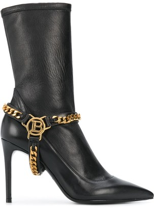Balmain Chain Embellished Pointed Boots