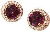 Effy 14K Rose Gold Diamond And Rhodolite Earrings