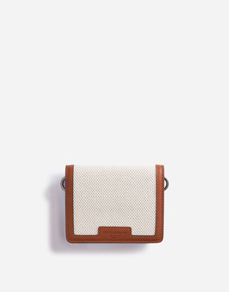 Dolce & Gabbana Small Wallet With Cross-Body Strap In Canvas And Cowhide
