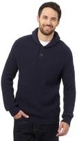 Mantaray Big And Tall Navy Wool Blend Shawl Neck Jumper