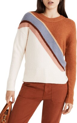 Madewell Lyford Stripe Coziest Textured Yarn Pullover Sweater