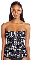 Calvin Klein Women's Cresent Geo Bar Bandeau Tankini with Removable Soft Cups