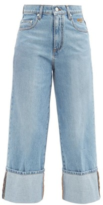 MSGM Cropped Turn-up Wide-leg Jeans - Denim