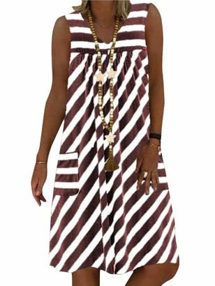 Onsoyours Women Dress V Neck Summer Beach Dresses Solid Color A Line Dress Boho Knee Length Dress Sleeveless Stripe Dress Without Accessories B Green 14