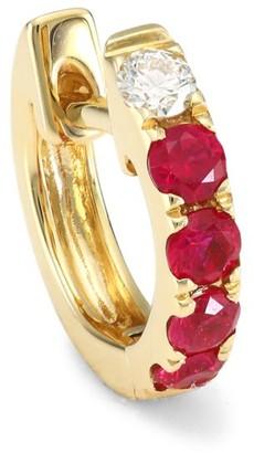 Robinson Pelham Orb 14K Yellow Gold, Ruby & Diamond Single Medium Huggie Earring