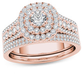 Zales 1 CT. T.W. Diamond Double Cushion Frame Multi-Row Bridal Set in 14K Rose Gold