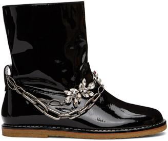 Loewe Black Patent Chain Boots