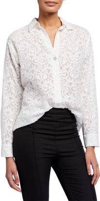 Go Silk Petite Eyelet Long-Sleeve Big Shirt