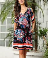Reborn Collection Women's Casual Dresses Black - Black & Burgundy Floral Stripe Cold-Shoulder Dress - Women & Plus
