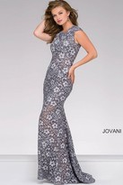 Jovani Lace Fitted Dress with Open Back 32020