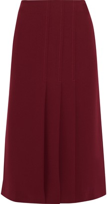 Iris & Ink Ethel Pleated Crepe Midi Skirt