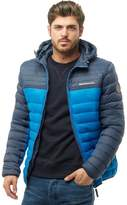 Crosshatch Mens Pyffan Padded Jacket With Detachable Hood Mood Indigo/Electric Blue