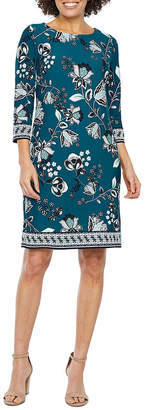 Studio 1 3/4 Sleeve Floral Puff Print Shift Dress