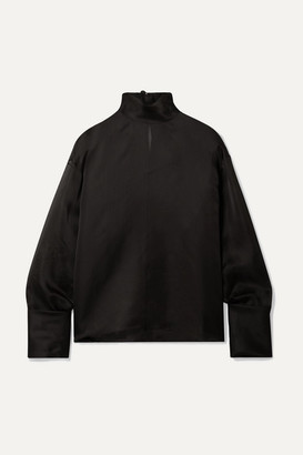 The Row Karlee Oversized Silk-organza Turtleneck Blouse - Black