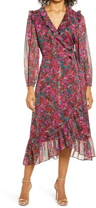 Adelyn Rae Carleigh Floral Chiffon Long Sleeve Wrap Dress