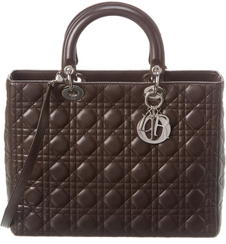 Christian Dior Brown Quilted Lambskin Leather Large Lady