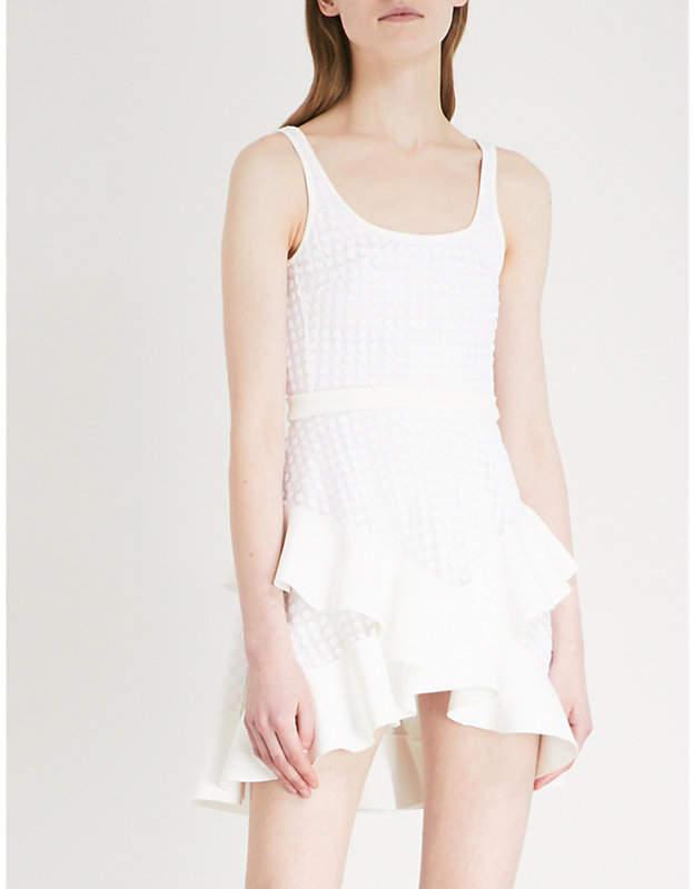 David Koma Polka dot flocked fit-and-flare mesh mini dress