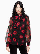 Kate Spade Poppy chiffon bow blouse