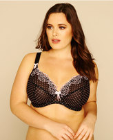 Yours Clothing ELOMI Black And Pink Polka Dot Underwired Plunge Betty Bra
