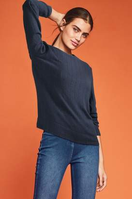 Next Womens Navy Cosy Long Sleeve Pointelle Top - Blue
