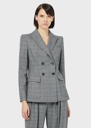 Emporio Armani Stretch Wool, Glen Plaid, Double-Breasted Jacket