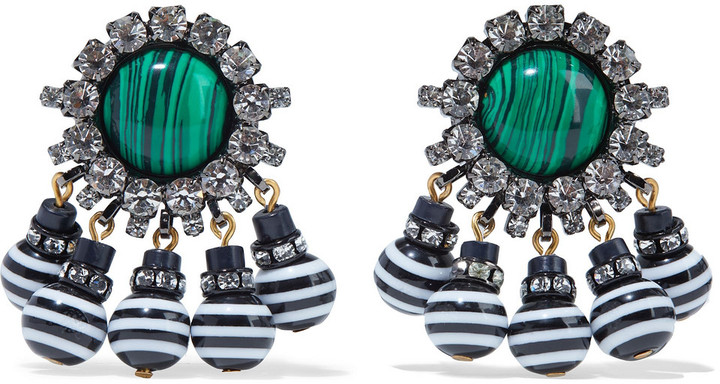 Elizabeth Cole Hematite-plated, Gold-tone, Stone, Crystal And Bead Earrings