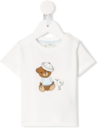 Fendi Kids sailor bear print T-shirt